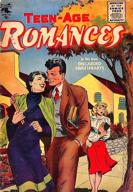 Teen-age Romances #44 - golden age Matt Baker romance comic book cover