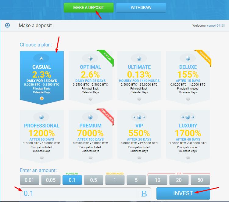 Инвестиционные планы Bitcy 3
