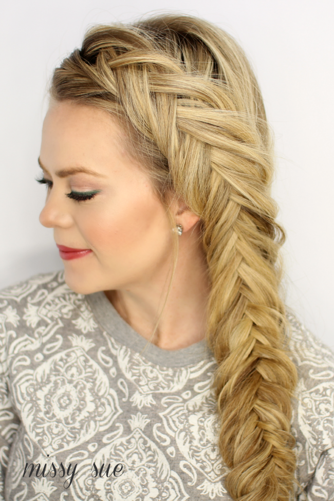Mini Fishtail Braid Hairstyle With Cascading Curls ... |Side Fishtail Braid With Curls
