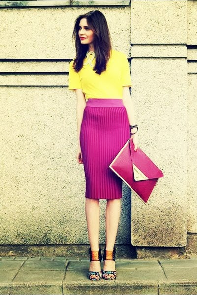 street style: color blocking, yellow top and hot pink skirt