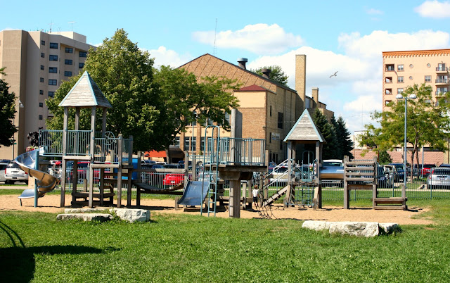 Large playground in downtown Kenosha