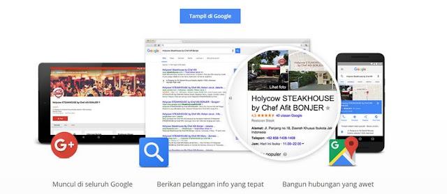 halaman Google Bisnisku dan Bing Places for Business (terutama Google).