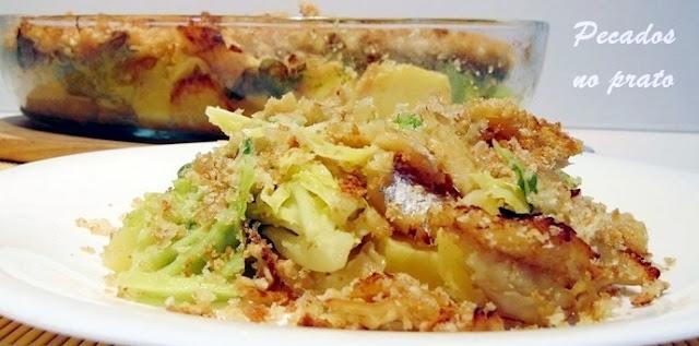 Receita de bacalhau com couve e pão ralado
