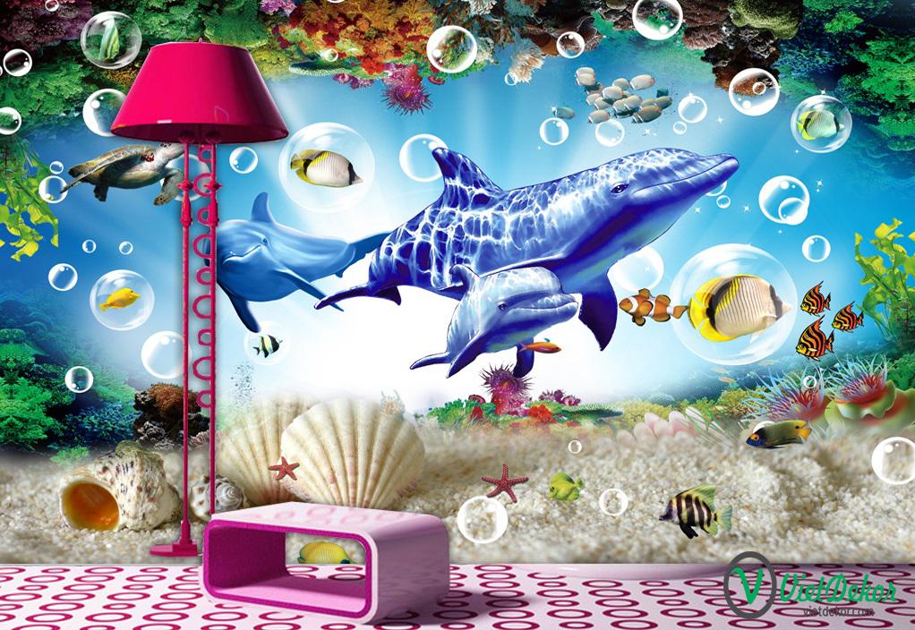 Tranh dán tường 3d phong cảnh đáy biển cá mập
