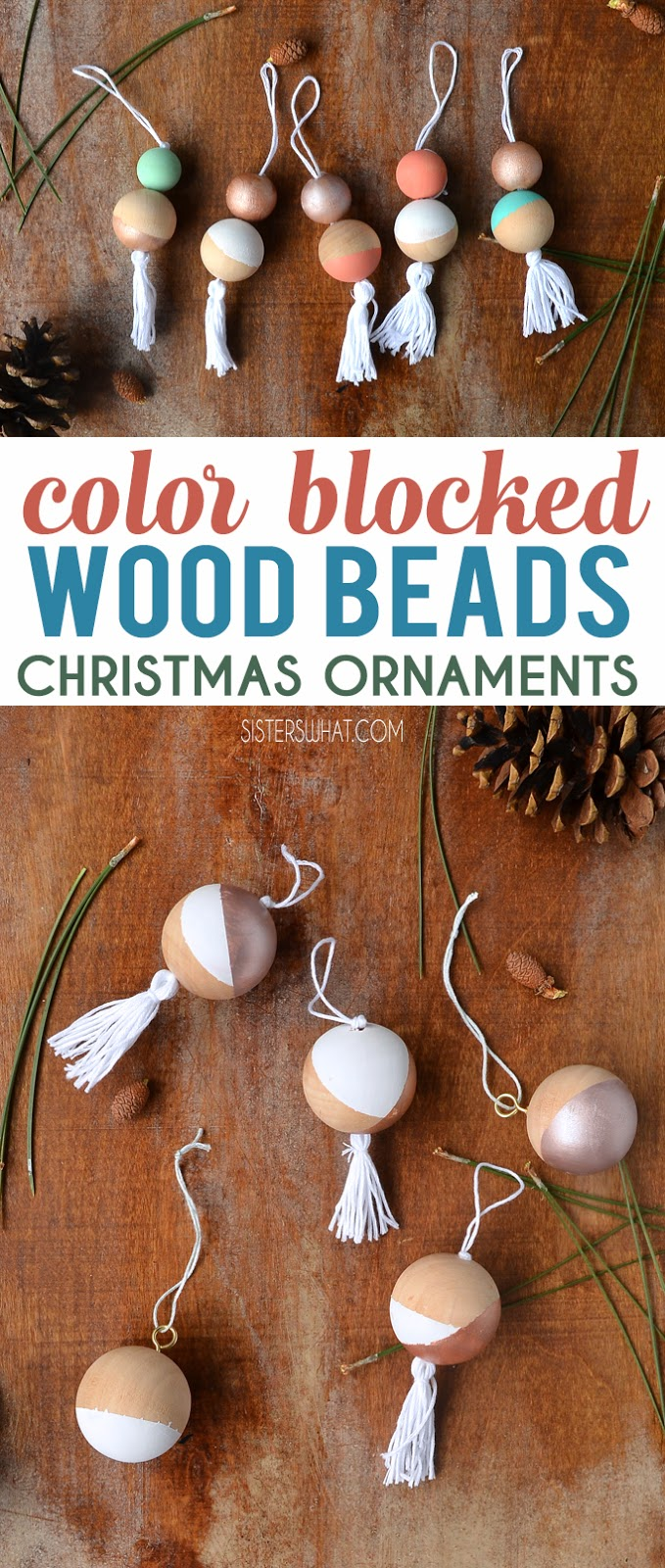 Modern wood bead colorful Christmas Ornament