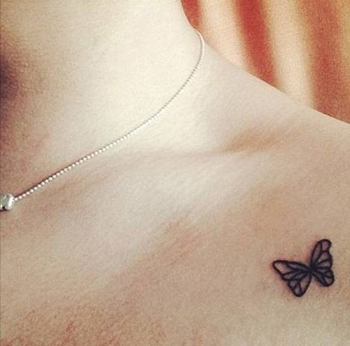 Preto Minúsculo Simples Tatuagem De Borboleta