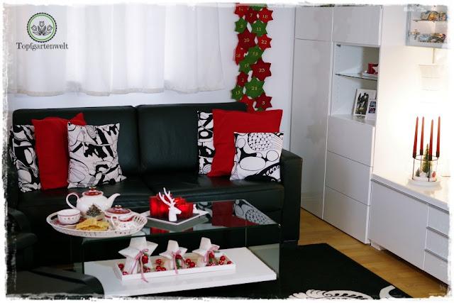 Gartenblog Topfgartenwelt festliche Weihnachtsdekoration in Rot und Weiß + Rezept Flammkuchen: Wohnzimmer