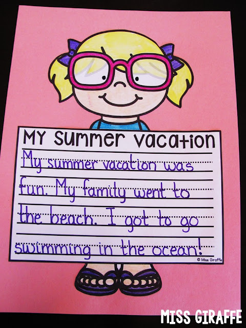 My Summer Vacation writing activity that is NO PREP! You simply print it out and hand the paper to your students and it makes an instant writing craft for first grade or kindergarten