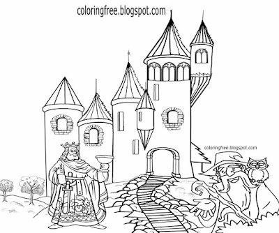 Royal palace old medieval king drawing cartoon owl & wizard magic castle coloring page for teenagers