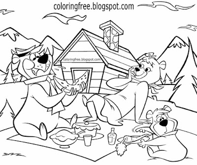 American national park picnic area family fun cartoon drawing Yellowstone Yogi bear coloring pages