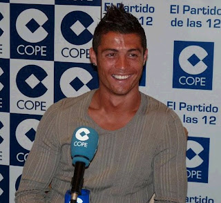 Cristiano attending an interview from Lisbon
