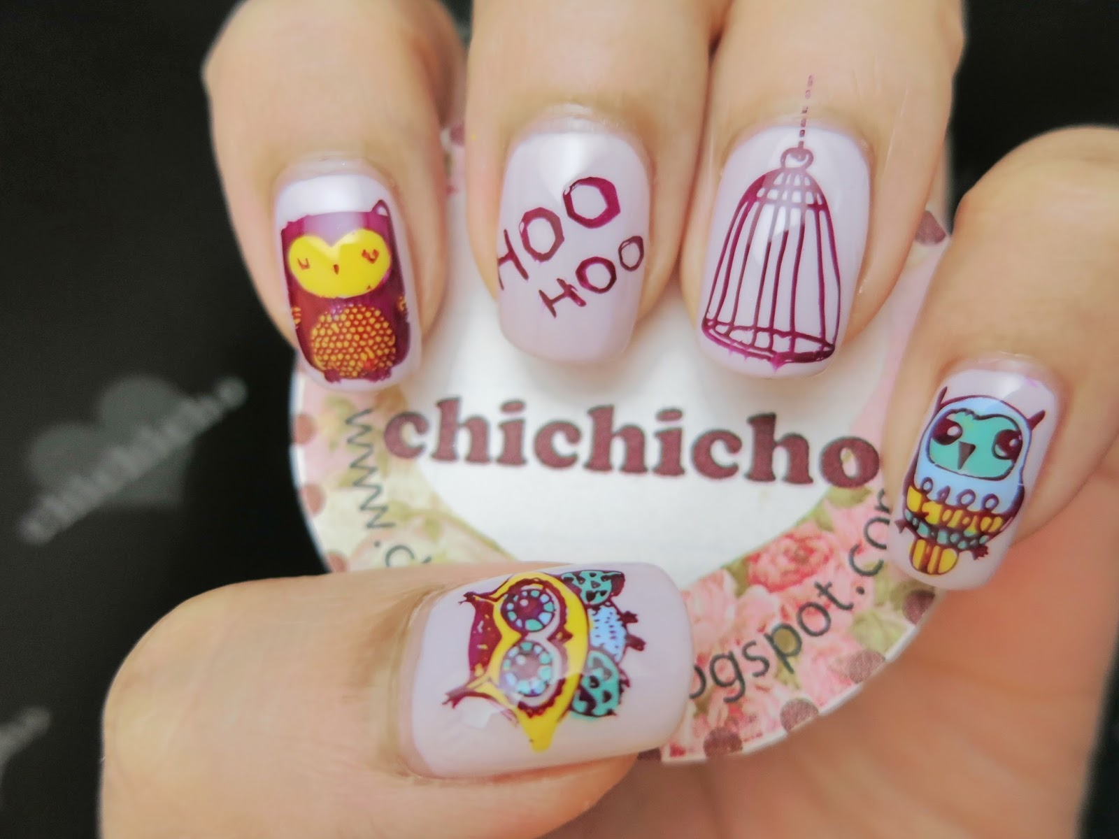 Owls Nail Art with Image Plate Qgirl036 - chichicho~