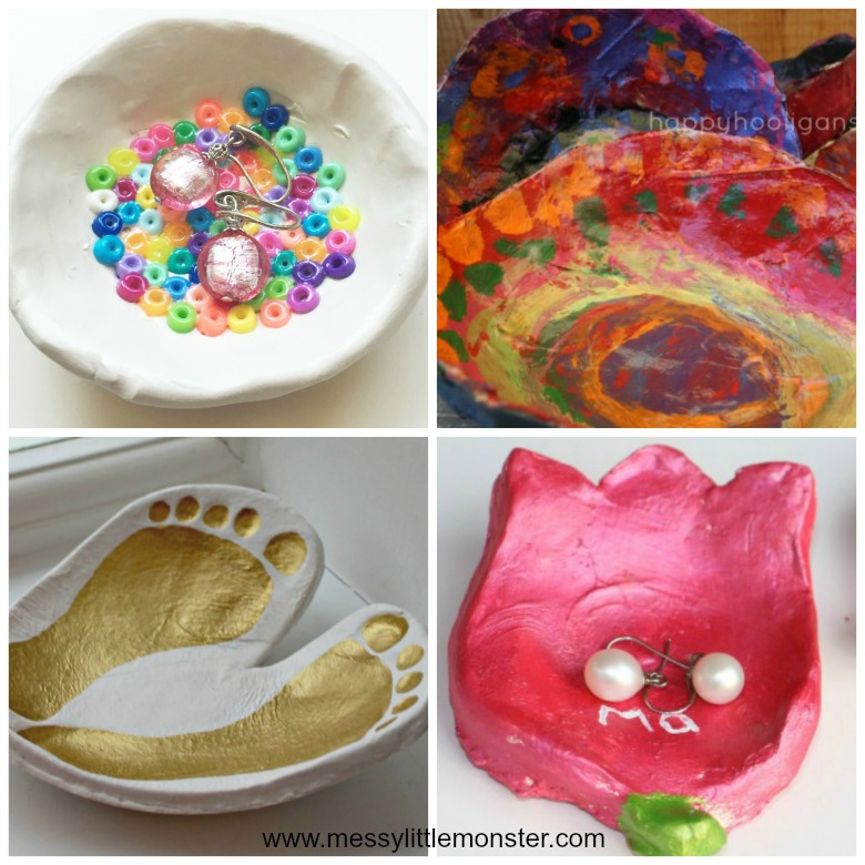 Homemade gifts for mom from kids - easy diy clay bowl gift ideas that kids can make.