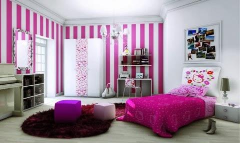 Dormitorio para ni as y adolescentes color lila for Carta da parati cameretta bimba