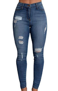 Pxmoda Women Denim Stretch Jeans Skinny Ripped Distressed Pants