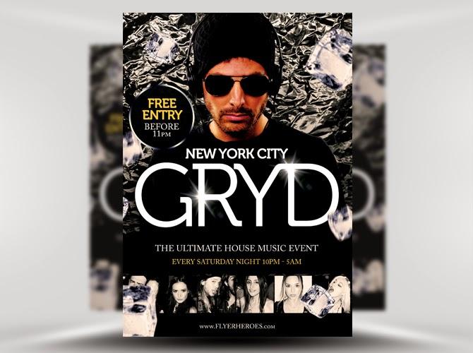 Free Flyer Gryd DJ Template PSD