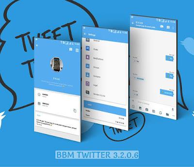 Download BBM MOD Twitter v3.2.0.6 (Base BBM Tema Twitter Versi Terbaru) Full Fitur Desember 2016