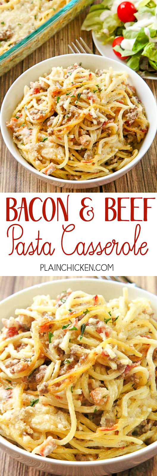 Bacon and Beef Pasta Casserole - INCREDIBLE! SO GOOD! Blown away with this easy casserole. Spaghetti, bacon, hamburger, onion, red pepper, Roasted Garlic Alfredo sauce, parsley and parmesan cheese. This was out of this world delicious! Tasted like carbonara. It is now in our dinner rotation!