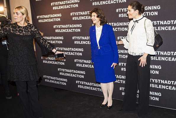 Crown Princess Victoria wore Erdem x H&M blouse, Valentino bag, Af Klingberg rakel suede nero boots. #MeToo