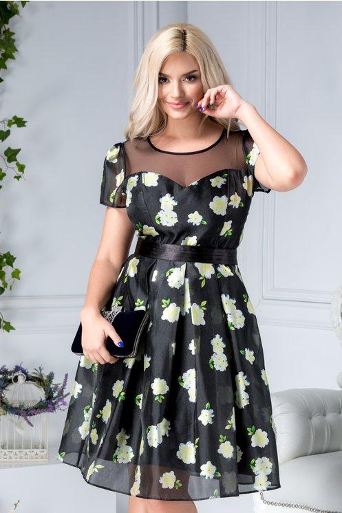 Rochie scurta de seara in clos neagra cu flori galbene
