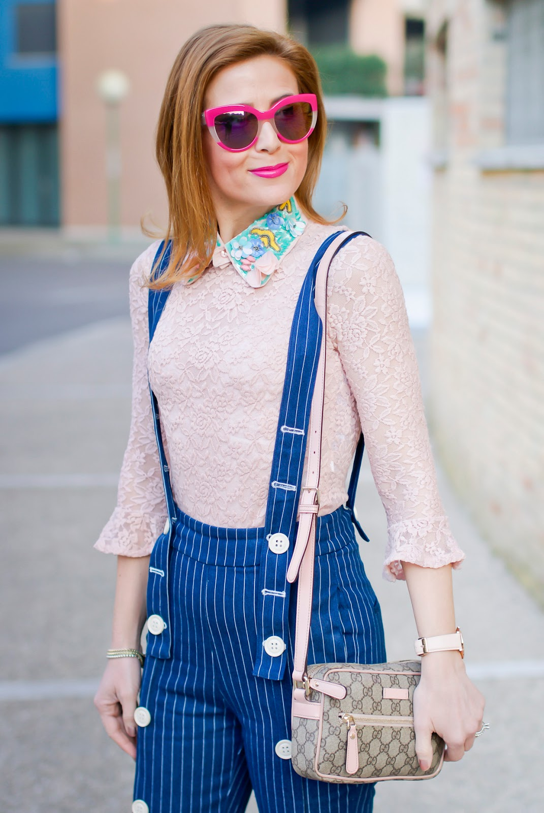 Metisu Pinstripe trousers with braces, Gucci mini bag on Fashion and Cookies fashion blog, fashion blogger style