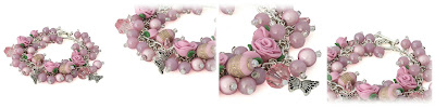 Pink Rose Charm Bracelet by Lottie Of London Jewelry