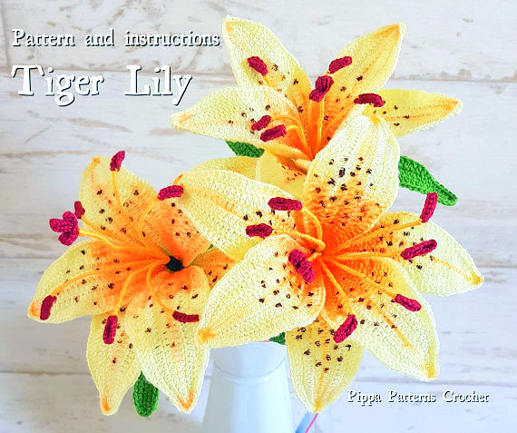 tiger lily flower crochet pattern