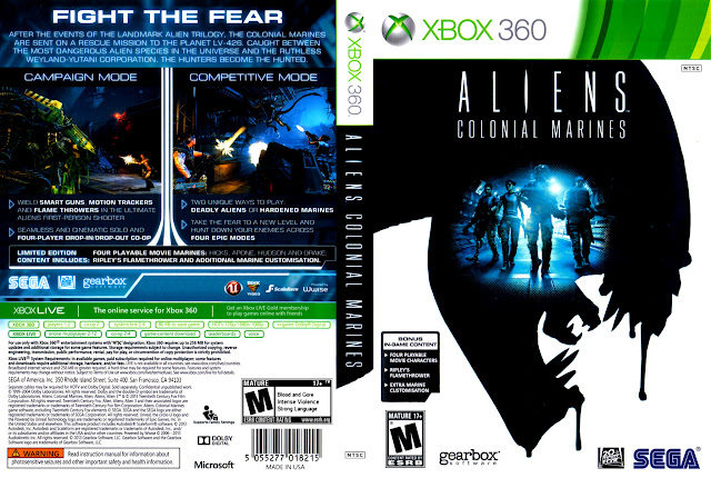 Capa Xbox360 Aliens Colonial Marines