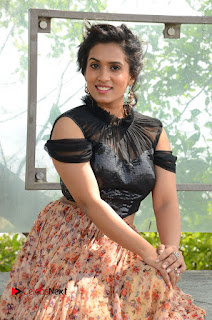 Actress Chetana Uttej Stills in Floral Long Skirt at Pichiga Nachav Movie Press Meet  0044.JPG