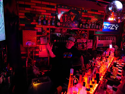 Frenz gay bar, Osaka - the red-lit bar.