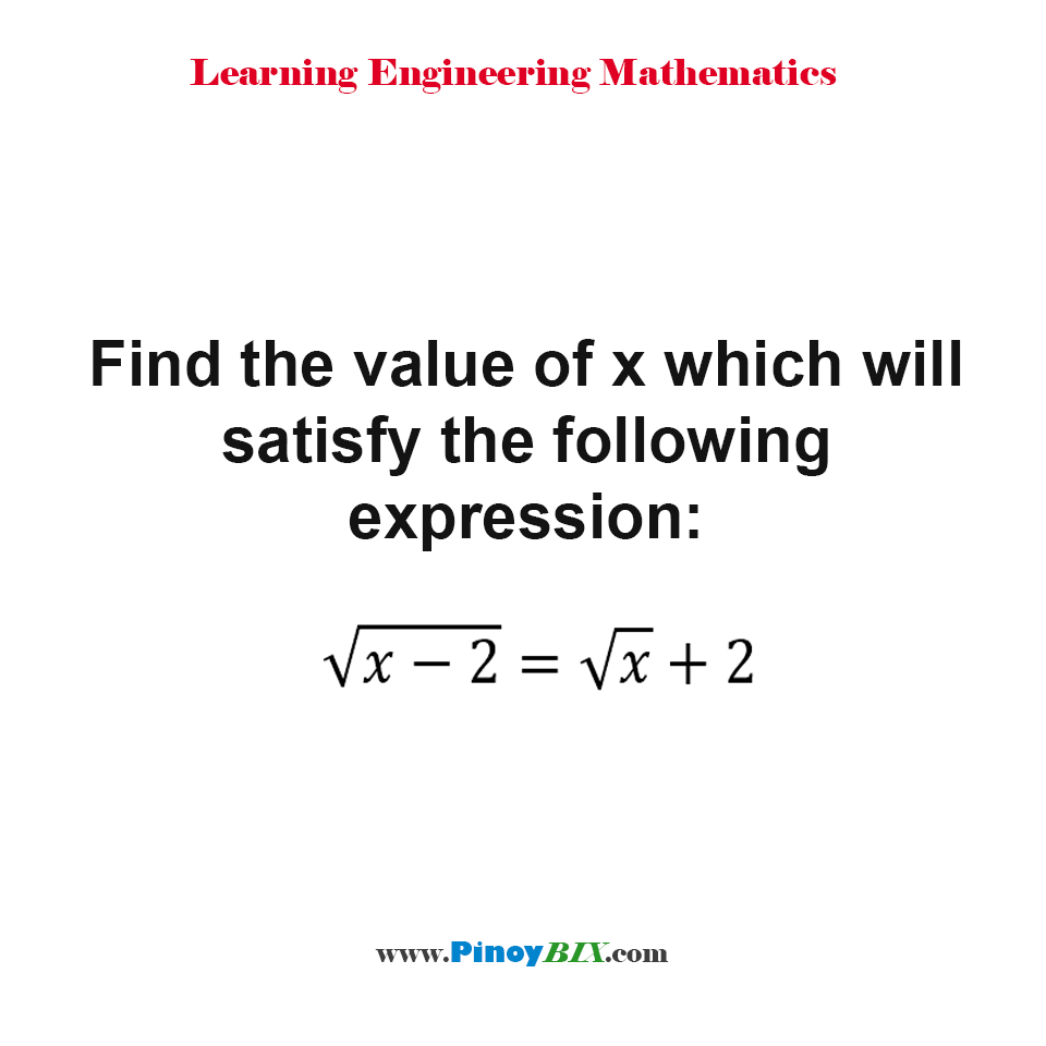 Find the value of x which will satisfy the following expression: √(x-2) = √x + 2