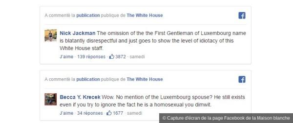 Capture d'écran de la page Facebook de la Maison blanche - Des utilisateurs de Facebook se sont indigné dans la partie réservée aux commentaires sous le post de la Maison blanche