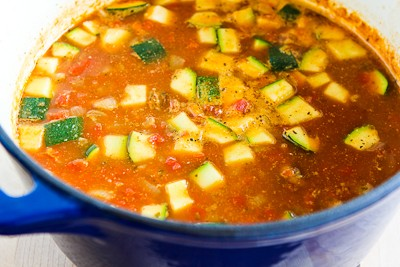 soup cooking - Italian Sausage, Zucchini, and Macaroni Soup Recipe found on KalynsKitchen.com