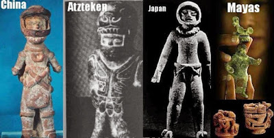 Ancient statues that look like ancient astronauts.