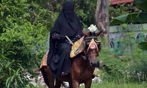 Indonesia's 'Niqab Squad' takes aim at face veil prejudice riding a Horse