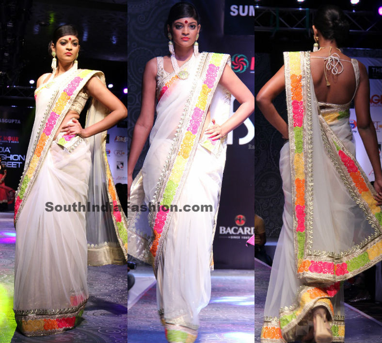 Model In White Net Saree South India Fashion