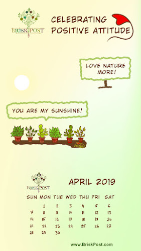 April 2019 Calendar with wallpaper message, love nature more
