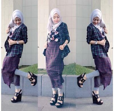 baju style kemeja flanel wanita hijab