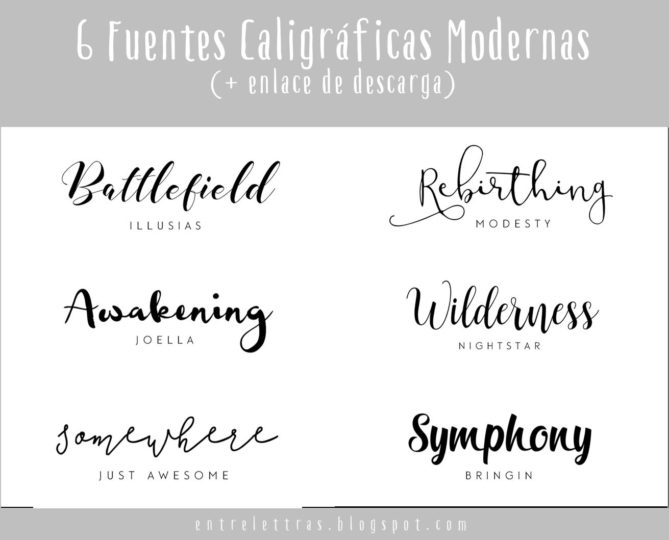 Entre Letras: SEIS FUENTES CALIGRÁFICAS MODERNAS FAVORITAS
