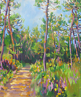 oil painting of a forest, Biron, Dordogne