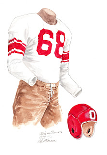 1939 University of Oklahoma Sooners football uniform original art for sale