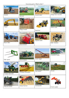 Students revise or learn farm equipment names and related vocabulary through a guessing game, and practise their speaking and listening skills.