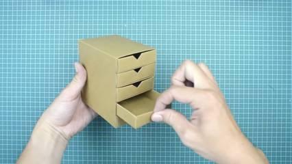 cara membuat kotak serbaguna dari kardus bekas