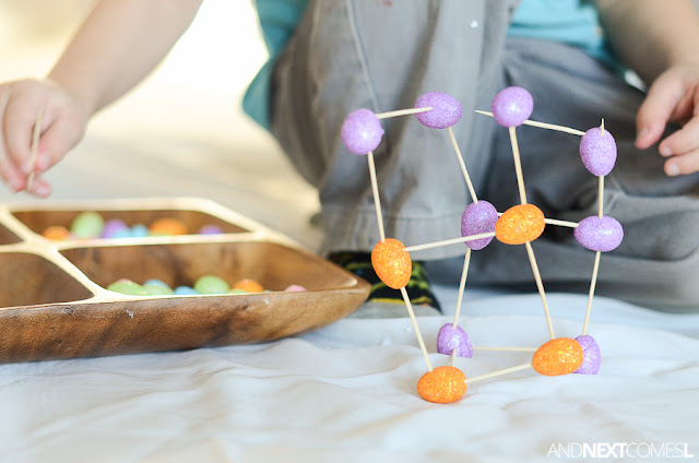 Easter fine motor building STEM activity for kids from And Next Comes L