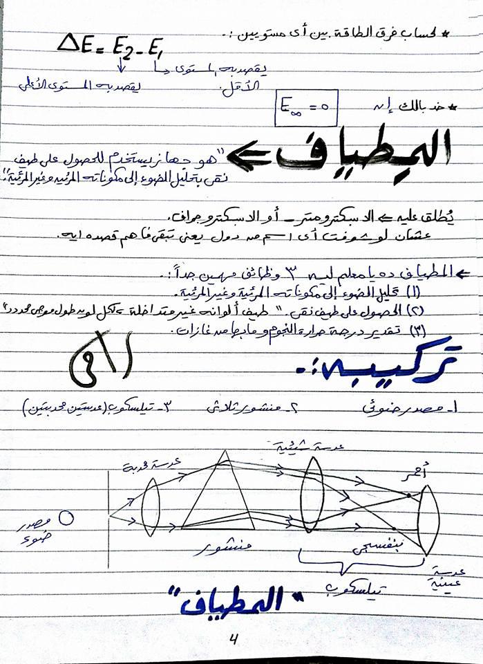 بالصور وبخط اليد مراجعة الاطياف الذرية - فيزياء ثالث ثانوي 4