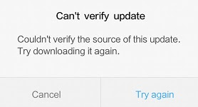 Can't Verify Update. Couldn't Verify The Source Of This Update. Try Downloading it Again
