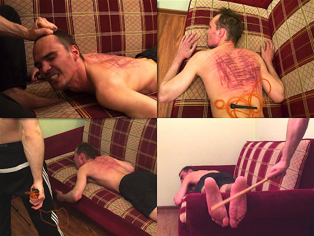 RusStraightGuys - Extremely back whipping and bastinado of lazy worker 25 y.o.