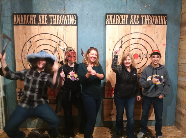 Axe throwing with teenagers kids in indy fishers near me