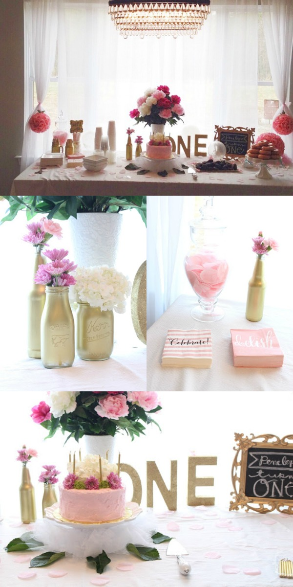 Chic pink and gold girl first birthday party theme.